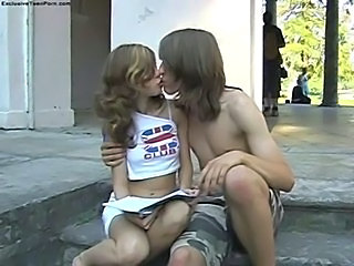 Girlfriend Kissing Outdoor Teen