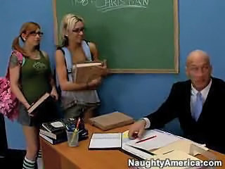 Cute Glasses Old and Young Pigtail School Student Threesome