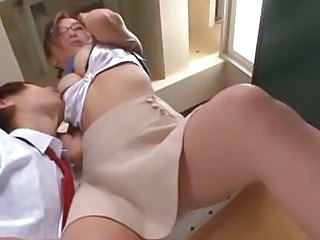 Asian Glasses Japanese MILF Natural Skirt Teacher