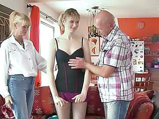 Daddy Daughter Family Mom Old and Young Threesome