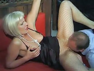 Clothed Fishnet Licking Mature MILF