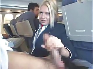 Customers Get Handjob From Stewardess