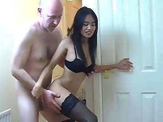 Sex in the hallway with an Asian hooker