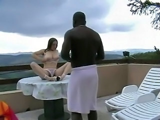 Babe Big Tits Hairy Interracial Outdoor Panty