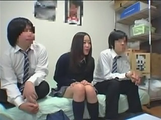 Asian Cute Japanese Skirt Student Threesome