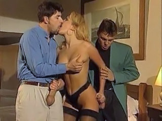 Blonde Handjob Italian Kissing MILF Pornstar Stockings Threesome
