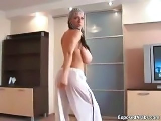 Busty arab whore gets horny stripping part1