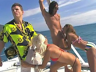 Boat Ride Turns Into Hot Outdoors Foursome With Blonde and Brunette