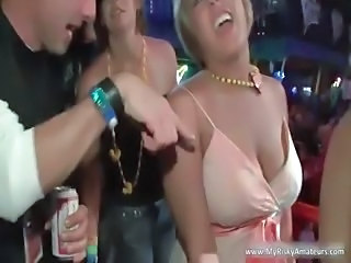 Crazy drunk babes get wild and show tits