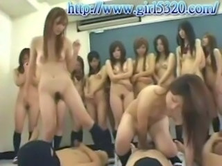 Asiatisk Hardcore Japansk Orgie Riding Student