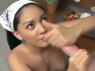 Hottest Asian huge tit babe blowjob!