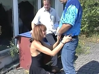 Clothed European German MILF Outdoor Threesome
