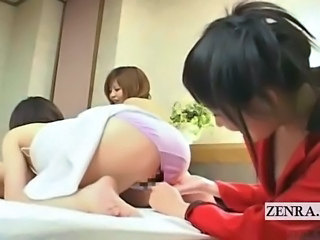 Subtitled Japanese CFNM hostess blowjob with audience
