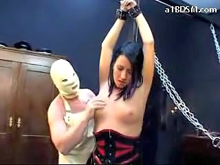 Blackhaired Girl Getting Her Arms Tied Fucked Creampie Drinking Milk From Plate Like A Dog In The Dungeon