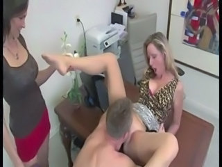 Clothed Licking MILF Office Threesome