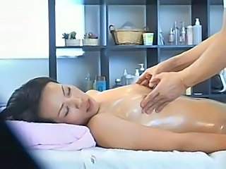 Asian  Massage MILF Oiled Small Tits Voyeur Wife