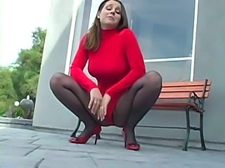 Big Tits MILF Outdoor Pantyhose