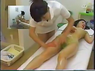 Asian  Japanese Lesbian Massage MILF Oiled Voyeur