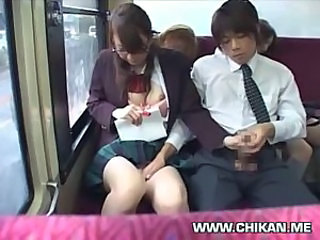 Asian Bus Cute Glasses Handjob Japanese School Skirt Student Teen