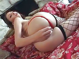 Amazing Ass Cute Fishnet Masturbating