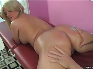 Blonde Julie Cash In Tiny Panties Enjoys Massage With Her Face Down. Masseur Pulls Off Her Green Thong And Spreads Her Big Butt Chicks. He Slides His Fingers In Her Pussy And Licks Her From Behind!