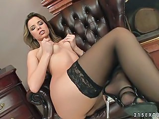 Babe Peaches stripping and teasing on sexy black stockings