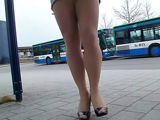 Cum on nude pantyhose at bus stop...