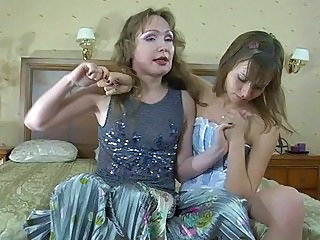 Tight ass young lezzie and her hot momma having fun in bedroom