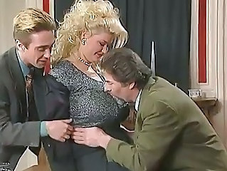 Big Tits Blonde Chubby European German MILF Threesome Vintage