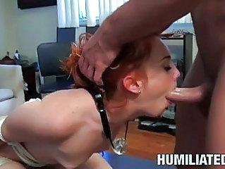 Turned on redhead gets bound and humiliated in sex game
