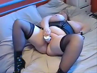 Amateur BBW Big Tits Corset Masturbating Mature Orgasm Stockings Toy