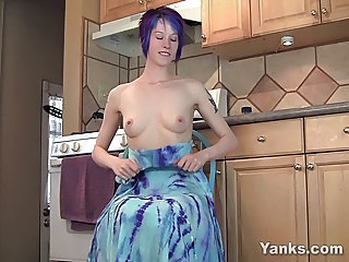 Blue Hair Teen Humps Her Hand To Orgasm