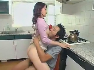 Asian Clothed Glasses Japanese Kitchen MILF Riding