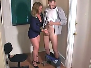 Tight police uniform as she jerks him off