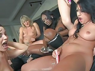 Jade Fire and her sexy pals vibe and squirt their hot twats in a lesbian fest