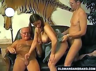 Big Tits Hardcore Old and Young Pigtail Threesome