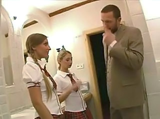 Cute Pigtail School Skirt Student Threesome Toilet