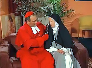 Dirty nun takes facial after her pussy and asshole fucking.