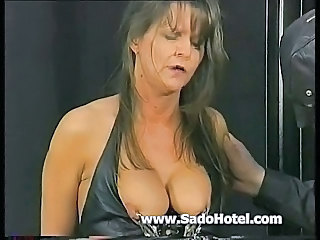 Hot mature slave showing her clit