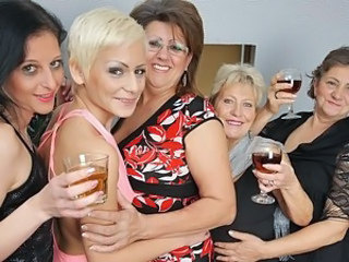 Five horny old and young lesbians do it special for Christmas