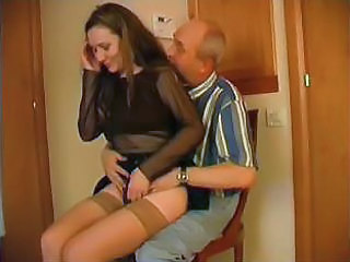 Amateur Daddy Daughter Old and Young Stockings Teen