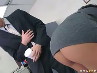 Juggy brunette in black stockings fucked on her desk Sex Tubes
