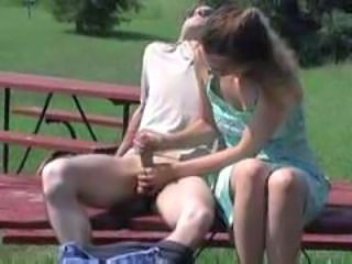 Amateur Handjob Outdoor Public