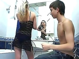 Bathroom Cute Lingerie Sister Teen