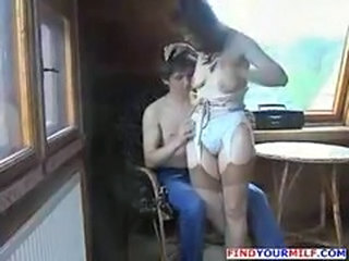 Horny Russian mother seducing her boyfriend