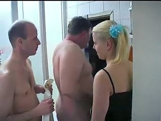 Young blonde fucked by 4 men