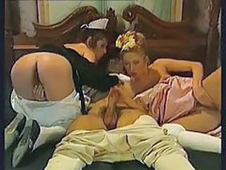 Chambermaid and lady of the house have threesome tubes