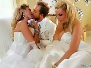 Big Tits Blonde Bride Kissing