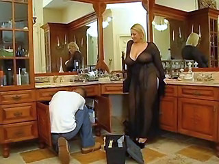Bathroom Blonde Chubby Mature