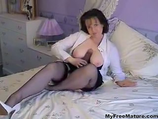 Brunette Dildo Granny Stockings